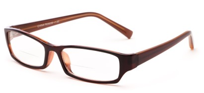 Angle of The Indiana Bifocal in Brown, Women's and Men's Rectangle Reading Glasses