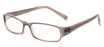 Angle of The Indiana Bifocal in Clear Grey, Women's and Men's Rectangle Reading Glasses