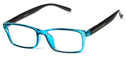 Angle of The Marley Bifocal in Blue/Black, Women's and Men's Retro Square Reading Glasses