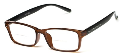 Angle of The Marley Bifocal in Brown/Black, Women's and Men's Retro Square Reading Glasses