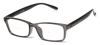 Angle of The Marley Bifocal in Grey/Black, Women's and Men's Retro Square Reading Glasses