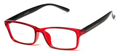 Angle of The Marley Bifocal in Red/Black, Women's and Men's Retro Square Reading Glasses