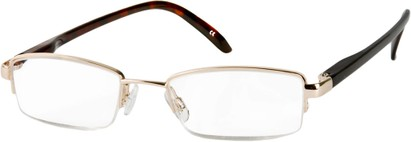 Angle of The Hemingway in Gold/Tortoise, Women's and Men's Rectangle Reading Glasses