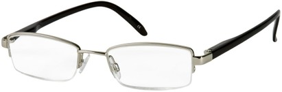 Angle of The Hemingway in Silver/Black, Women's and Men's Rectangle Reading Glasses