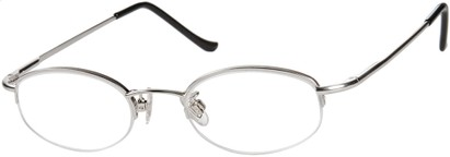 Angle of The Biltmore in Silver, Women's and Men's Oval Reading Glasses