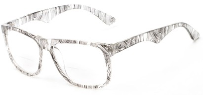 Angle of The Nebula Bifocal in Black/Clear, Women's and Men's Retro Square Reading Glasses