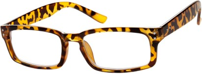 Angle of The Auckland in Tan Tortoise, Women's and Men's Rectangle Reading Glasses
