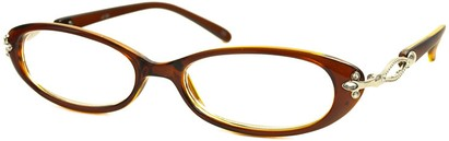 Angle of The Sherrie in Clear Brown, Women's Oval Reading Glasses