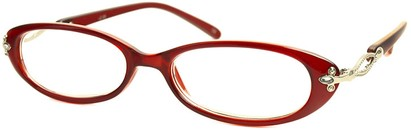 Angle of The Sherrie in Clear Red, Women's Oval Reading Glasses