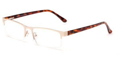 Angle of The Asher in Gold/Tortoise, Women's and Men's Rectangle Reading Glasses