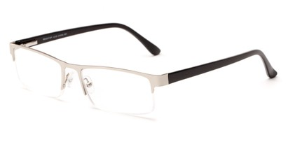 Angle of The Asher in Silver/Black, Women's and Men's Rectangle Reading Glasses