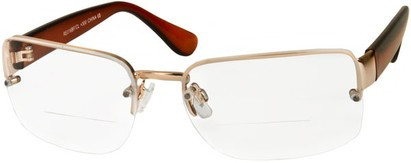 Angle of The Brady Bifocal in Gold/Dark Brown, Women's and Men's Square Reading Glasses