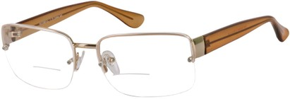 Angle of The Brady Bifocal in Gold/Tan, Women's and Men's Square Reading Glasses