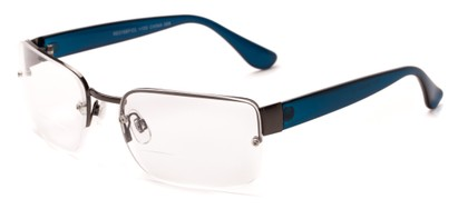 Angle of The Brady Bifocal in Grey/Blue, Women's and Men's Square Reading Glasses