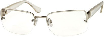 Angle of The Brady Bifocal in Silver/Clear, Women's and Men's Square Reading Glasses