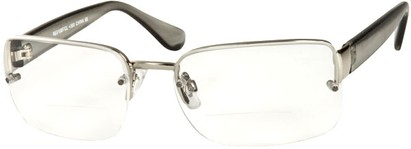 Angle of The Brady Bifocal in Silver/Grey, Women's and Men's Square Reading Glasses