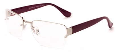 Angle of The Brady Bifocal in Silver/Purple, Women's and Men's Square Reading Glasses