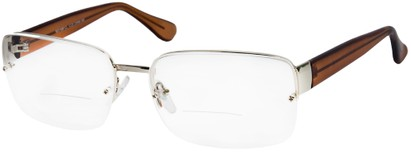 Angle of The Brady Bifocal in Silver/Brown, Women's and Men's Square Reading Glasses