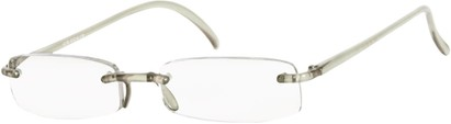 Angle of The Pittsburgh in Light Grey, Women's and Men's Rectangle Reading Glasses