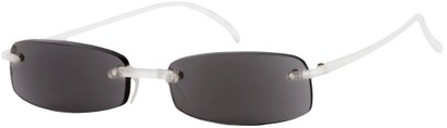 Angle of The Philadelphia Reading Sunglasses in Clear with Grey Lenses, Women's and Men's