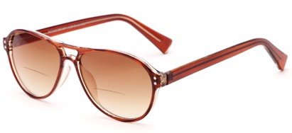 Angle of The Rune Bifocal Reading Sunglasses in Brown with Amber, Women's and Men's Aviator Reading Sunglasses