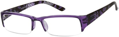 Angle of The New Orleans in Purple Snake, Women's and Men's Browline Reading Glasses