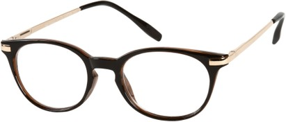Angle of The Portofino in Black/Brown with Gold, Women's and Men's Round Reading Glasses