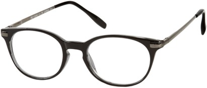 Angle of The Portofino in Black with Grey, Women's and Men's Round Reading Glasses