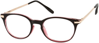 Angle of The Portofino in Black/Pink with Gold, Women's and Men's Round Reading Glasses