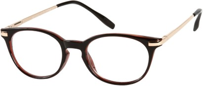 Angle of The Portofino in Black/Red with Gold, Women's and Men's Round Reading Glasses