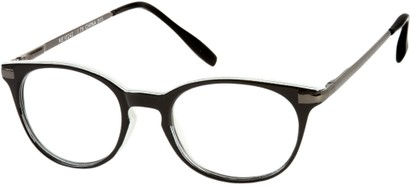 Angle of The Portofino in Black/White with Grey, Women's and Men's Round Reading Glasses