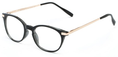 Angle of The Portofino in Black with Gold, Women's and Men's Round Reading Glasses