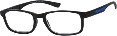 Angle of The Anthony in Black/Blue, Men's Rectangle Reading Glasses