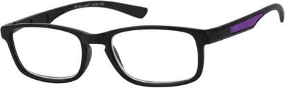 Angle of The Anthony in Black/Purple, Men's Rectangle Reading Glasses