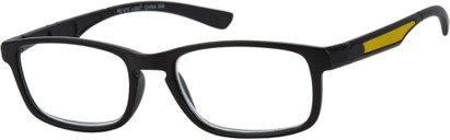 Angle of The Anthony in Black/Yellow, Men's Rectangle Reading Glasses