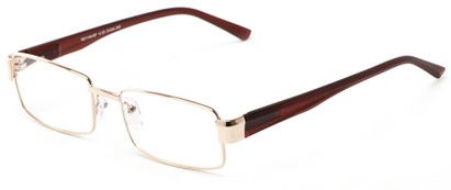 Angle of The Abram in Gold/Brown, Women's and Men's Rectangle Reading Glasses