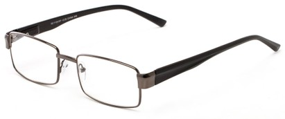 Angle of The Abram in Gunmetal/Black, Women's and Men's Rectangle Reading Glasses