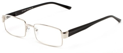 Angle of The Abram in Silver/Black, Women's and Men's Rectangle Reading Glasses