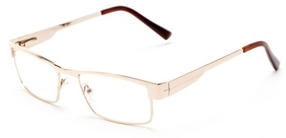 Angle of The Hugh in Gold, Women's and Men's Browline Reading Glasses