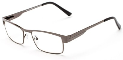 Angle of The Hugh in Grey, Women's and Men's Browline Reading Glasses