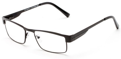 Angle of The Hugh in Black, Women's and Men's Browline Reading Glasses