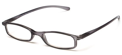 Angle of The Pierson in Grey, Women's and Men's Rectangle Reading Glasses