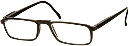 Angle of The Gardner in Glossy Black, Women's and Men's Rectangle Reading Glasses