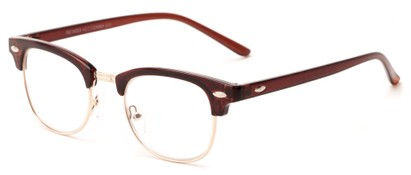 Angle of The Fern in Glossy Brown/Gold, Women's and Men's Browline Reading Glasses
