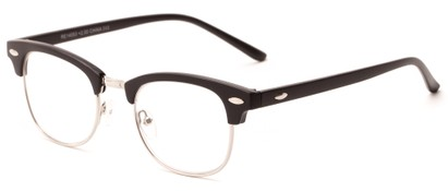 Angle of The Fern in Matte Black/Silver, Women's and Men's Browline Reading Glasses