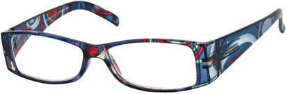 Angle of The Vienna in Blue Swirl Multi, Women's and Men's Retro Square Reading Glasses