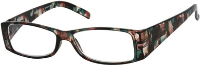 Angle of The Vienna in Green Camo Tortoise, Women's and Men's Retro Square Reading Glasses