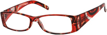 Angle of The Vienna in Red Swirl Multi, Women's and Men's Retro Square Reading Glasses