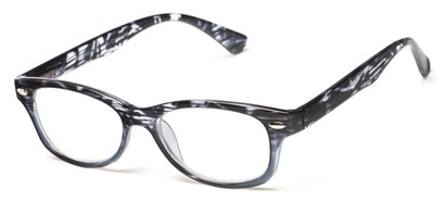 Angle of The Harmon in Black Stripe/Grey, Women's and Men's Retro Square Reading Glasses