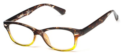 Angle of The Harmon in Brown Stripe/Green, Women's and Men's Retro Square Reading Glasses